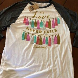 Simply Faithful 3/4 baseball style T-shirt